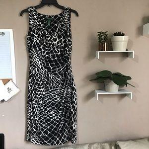 Ralph LAUREN Ruched Waist Black White Dress
